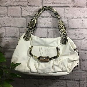 Cream & yellow snake print hobo bag